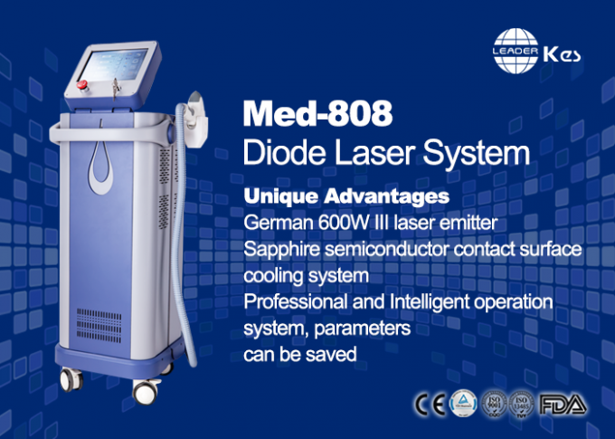 Germany 6 Bar Handpiece Laser Diode 808 Nm Hair Removal Machine , Laser Depilation Machine