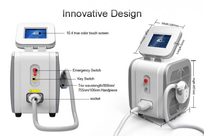 3 Wavelength Diode Hair Removal Laser Machine / Lady Hair Removal Machine 755nm
