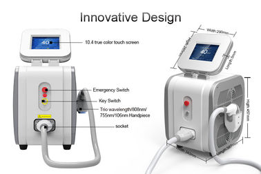 China 3 Wavelength Diode Hair Removal Laser Machine / Lady Hair Removal Machine 755nm supplier